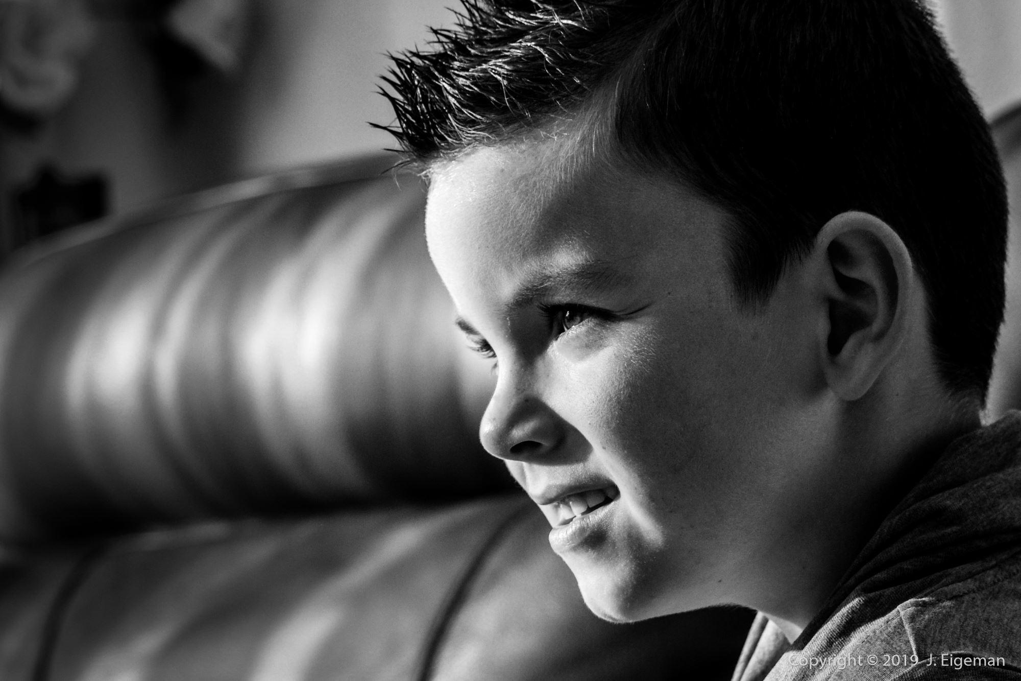 Fotografie zwart wit slagschaduw gezicht